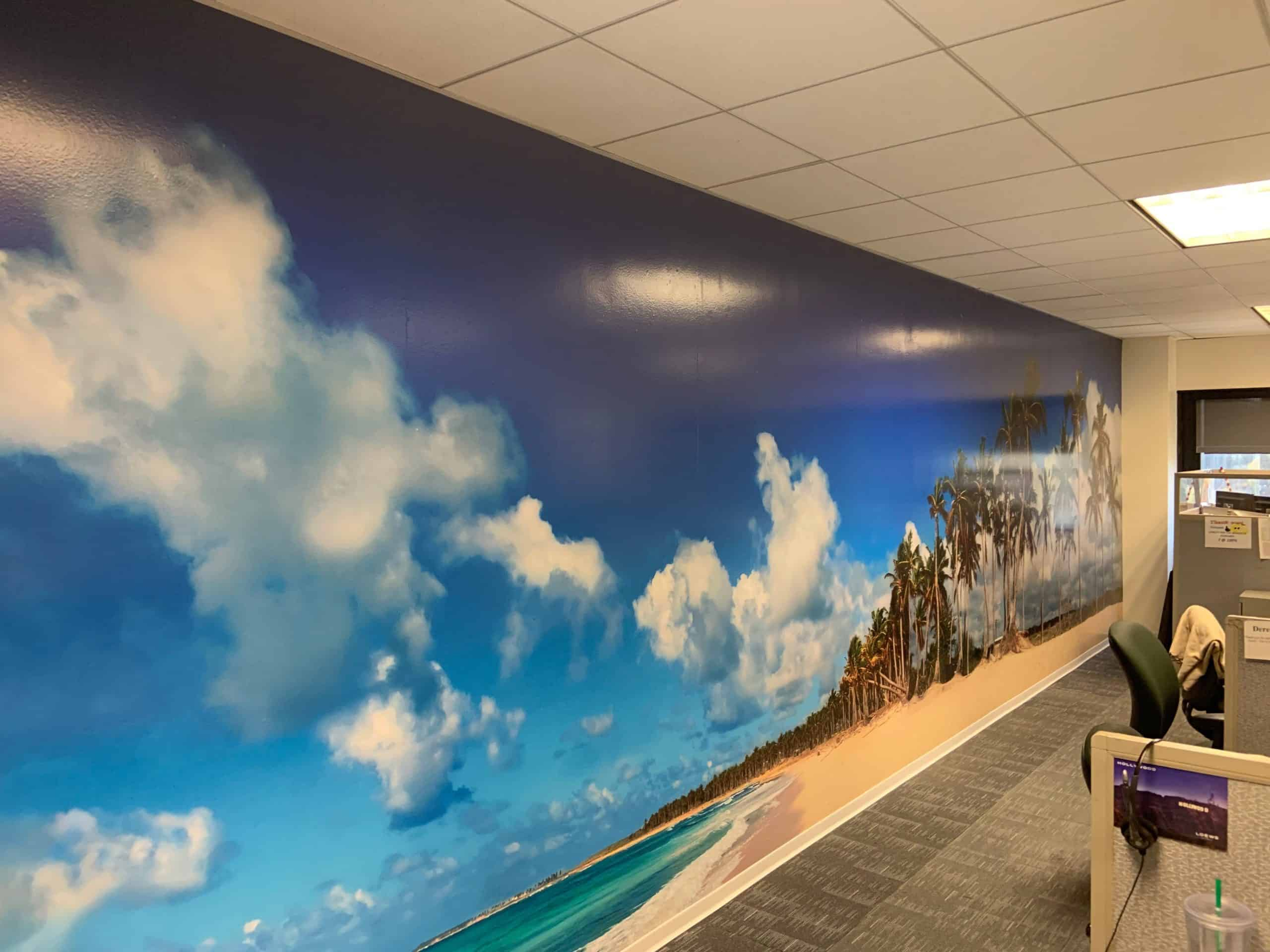 This vibrant beach with clouds picture was turned into a wall mural by Platon Graphics