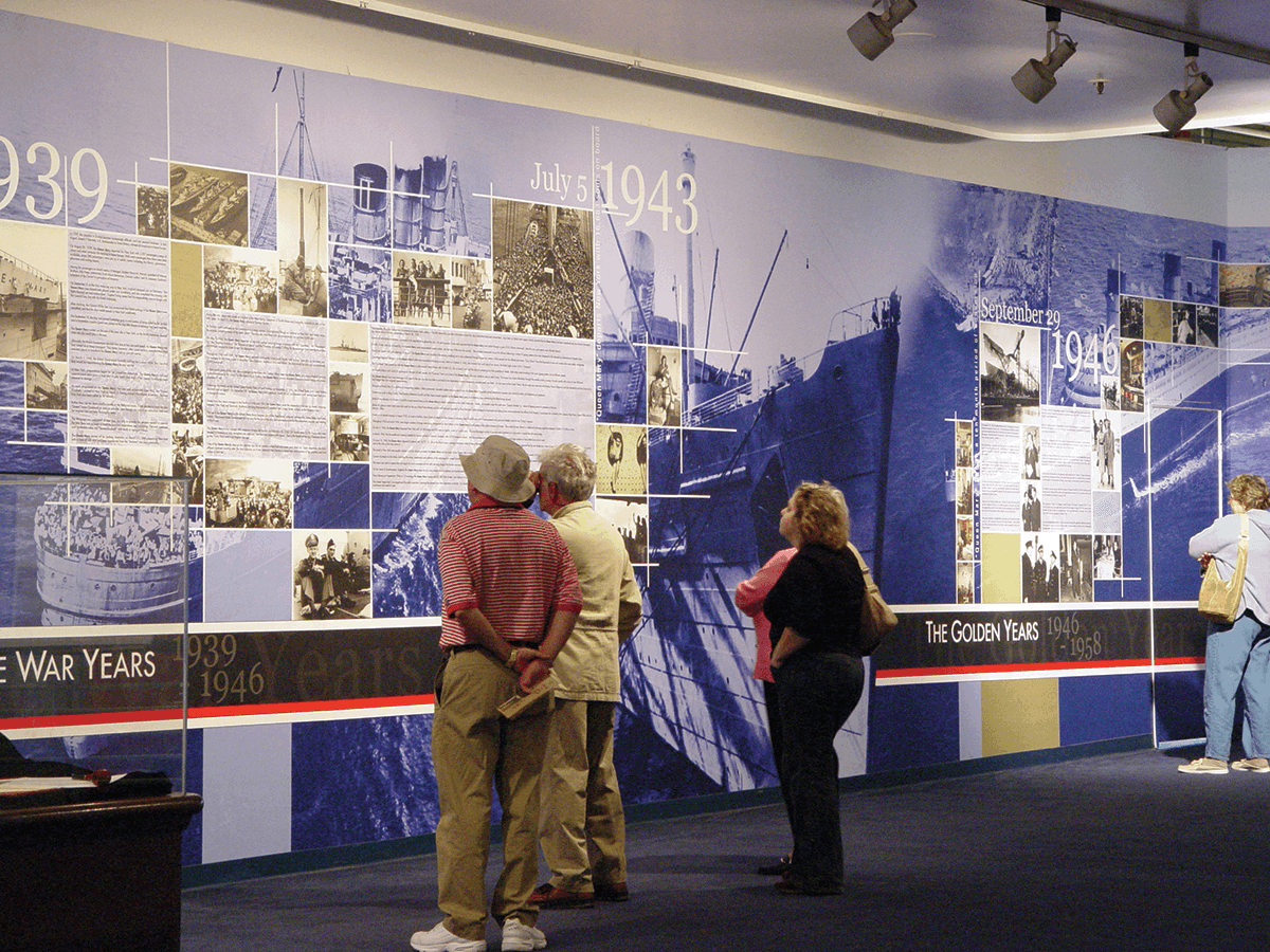This wall mural shows important events during the war years