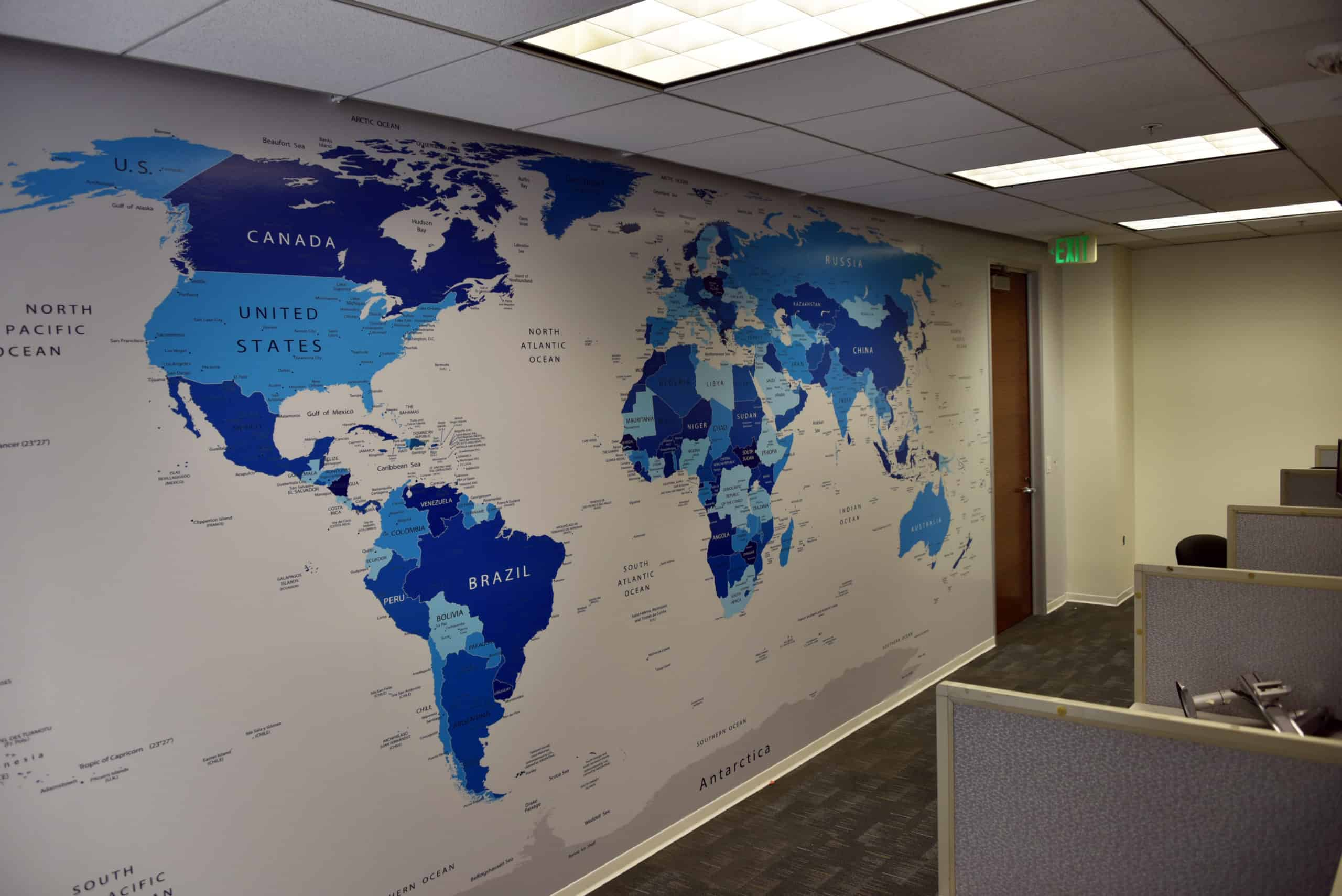 This mural of all the countries was done by Platon Graphics
