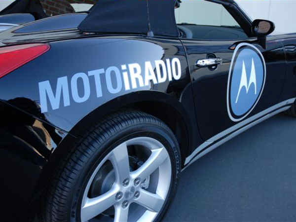 This vehicle wrap for Motorola shows that even sports cars can display graphics.