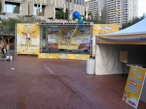 The Amgen sponsored Tour of California Bike Race had all their banners done by Platon Graphics