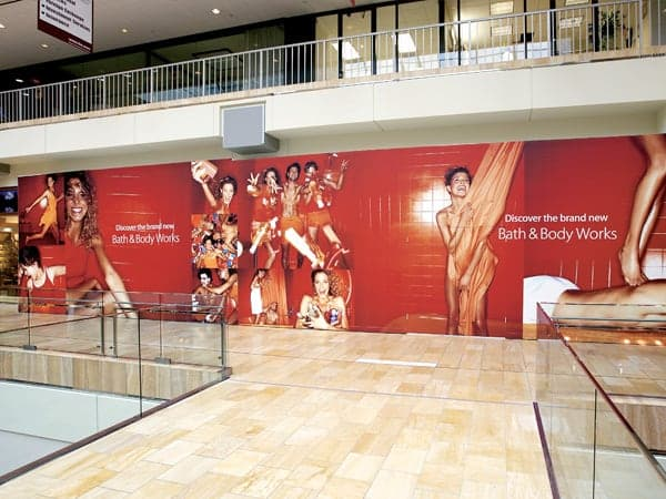 Platon can create an entire mural like this huge barricade display for a future Bath & Body Works store.