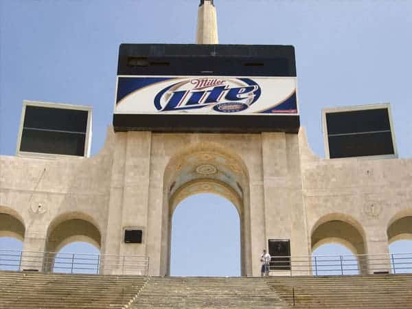Platon also creates cost-effective solutions for a variety of outdoor applications like this Miller Lite branding program currently being implemented at the Los Angeles Coliseum.