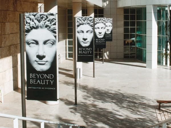 Platon helped create banners that made the Getty's opening of a recent exhibit a stunning success.