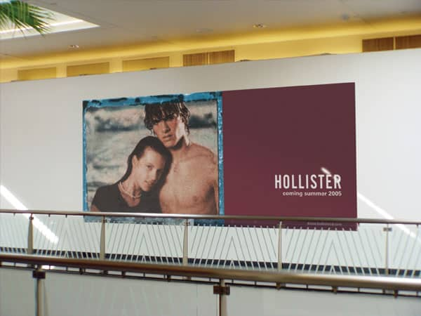 Platon can dress-up barricades with the tightest budgets like this elegant Hollister display.