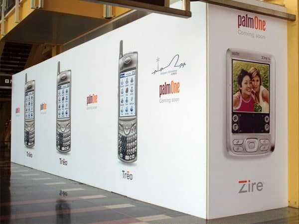 A creative barricade can be a fabulous way to communicate your new product selection like this display created for Palm. They were able to create demand and interest for their new Zire and Treo models before the store even opened!