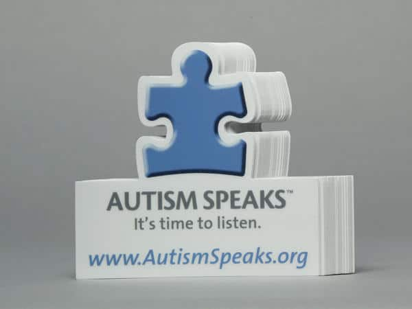 This die cut printing of Autism Speaks really draws the attention of people.