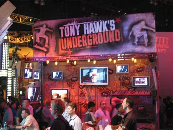 Platon was able to create a simple yet very professional display for Tony Hawk which made this little 10 by 10 exhibit wing look like a million bucks!