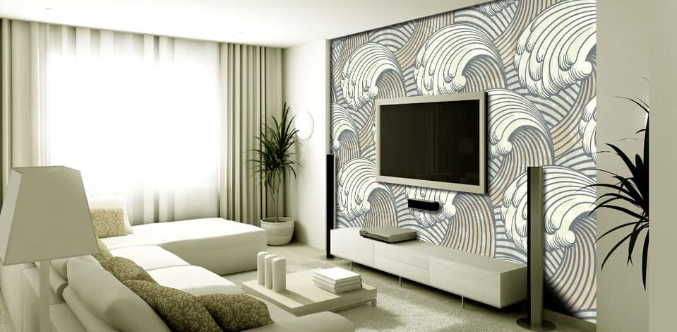 Custom wall mural and TV