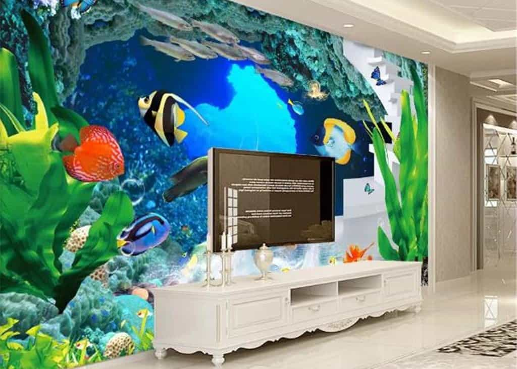 Custom wallpaper art design behind a TV with fish images in a wall mural