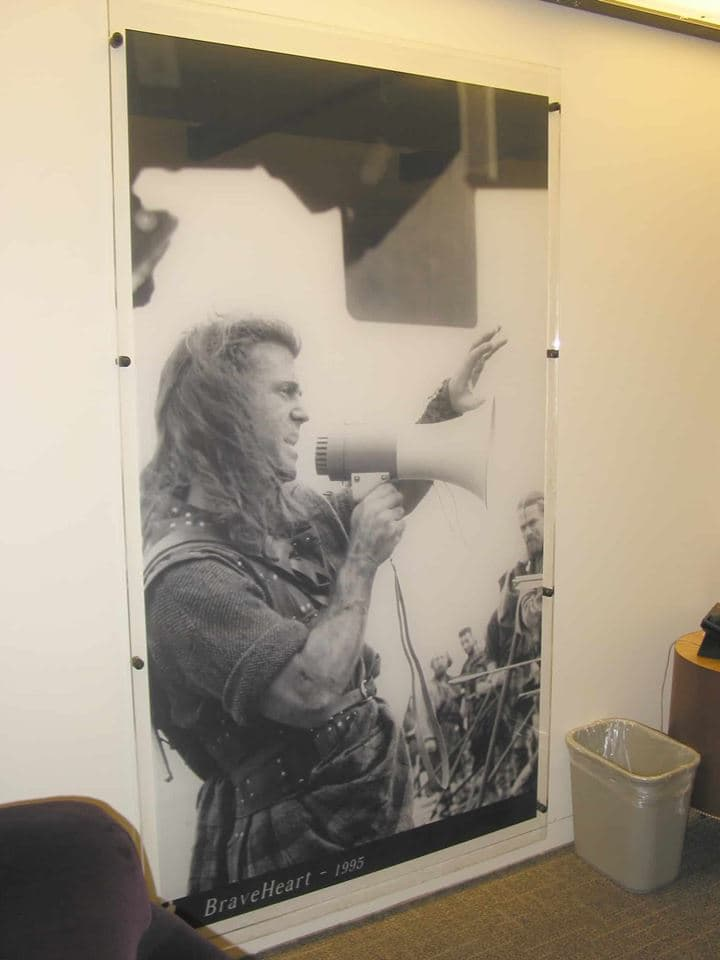 Charles and his team at Platon Graphics were hired to create this large banner of a person with a mega phone