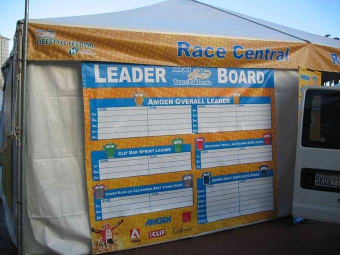 This race central leader board is a great banner to have at the race tracks