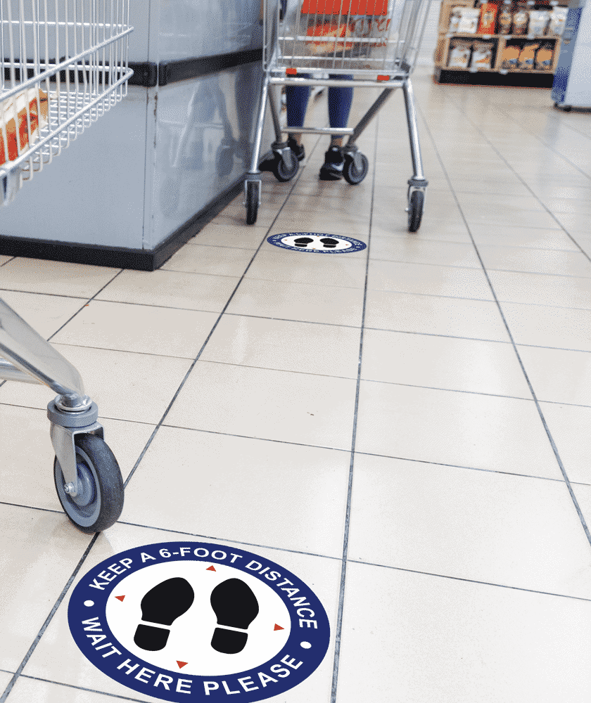 6 foot Floor Decals at a grocery store