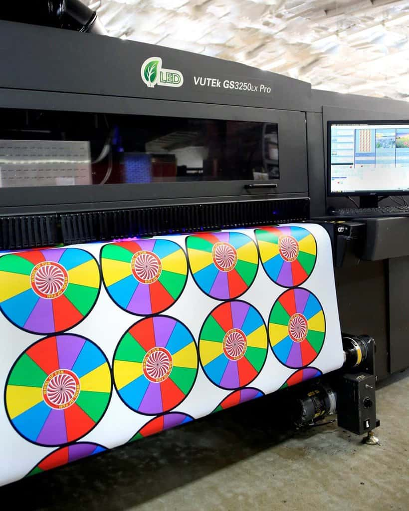 very large format printing process printing pinwheels for posters